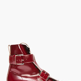 MARNI - BURGUNDY LEATHER DOUBLE BUCKLED CREEPER BOOTS