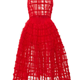 SIMONE ROCHA - Red Brushed Wool Check Sleeveless Dress