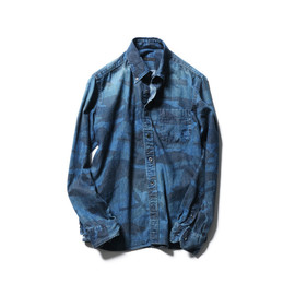 SOPHNET. - CAMOUFALGE DENIM B.D SHIRT (DAMAGED)