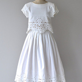 Summer in France dress | vintage cutout lace dress • white cotton dress