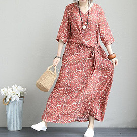 Loose Fitting in red, maxi dress, long sleeve dress, prom dress, bridesmaid dress