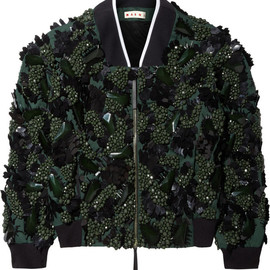 MARNI - SS2014 Embellished cotton-blend twill bomber jacket