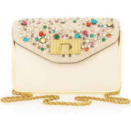 Chloé  - Sally Swarovski crystal textured-leather shoulder bag