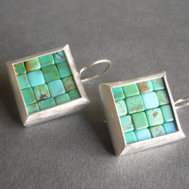 BRAND SPANKING NEW - Mosaic Earrings - Turquoise Silver