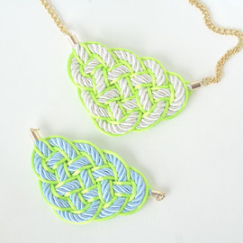 merryme Neon Color Knot Collar Necklace Statement Necklace Rope Necklace. Bib Necklace . Neon Yellow . Neon Green . Babay Blue . White