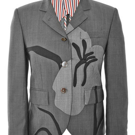 THOM BROWNE - SS2015 Classic Little Boy Jacket With Seamed Iris Intarsia In Kid Mohair