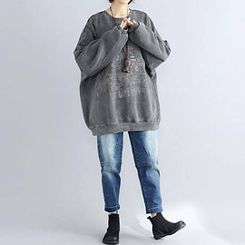 coat - Cotton gray Oversize coat Loose large size round collar Women Blouses
