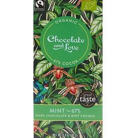 Chocolate and Love - Mint and Peppermint Crunch 67% Dark Chocolate Bar 80g