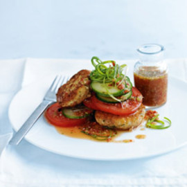 Donna Hay - chilli and lime fish cakes with cucumber salad