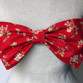 amourouse - Red floral bow bandeau made to order