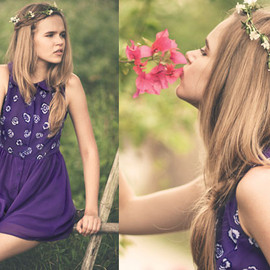 Book of Deer - Clover dress, Pansy print