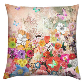 csera surface design - Accent Pillow, Home Decor Cushion, Floral & Butterflies Print Fabric Pillow Cover