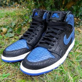Nike - NIKE AIR JORDAN 1 BLACK-BARSITY ROYAL PYTHON CUSTOMED BY JBFCUSTOMS