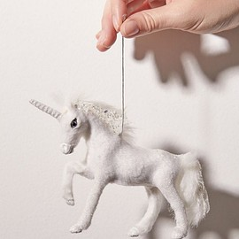 Urban Outfitters - Fuzzy Unicorn Christmas Ornament