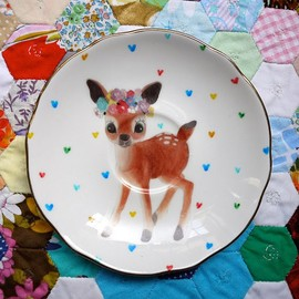 Wonderful Little Doe with Green Bell Floral Vintage Illustrated Plate