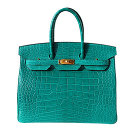 HERMES - 35cm Matte Malachite Alligator Birkin Handbag