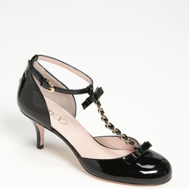 RED VALENTINO - Patent Leather Bow T-Strap Pump