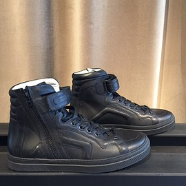 PIERRE HARDY - Black Leather High_top SideZip Sneakers