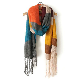 Street-chic Style Stripe Pattern Mixing Color Fringe Scarf