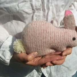 Luulla - Upcycled pink bunny - Soft and cuddling plushies