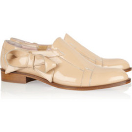 REDValentino - Bow-embellished patent-leather loafers