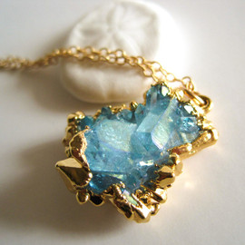 Kahili Creations - Aqua aura cluster necklace