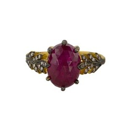 CATHY WATERMAN - Antique Ruby Two Leaf Ring