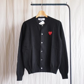PLAY COMME des GARCONS - 紡毛ラムウール天竺カーディガン 赤エンブレム #black