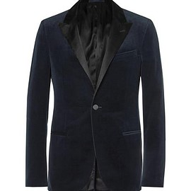 Lanvin - Navy Slim-Fit Satin-Trimmed Cotton-Velvet Tuxedo Jacket
