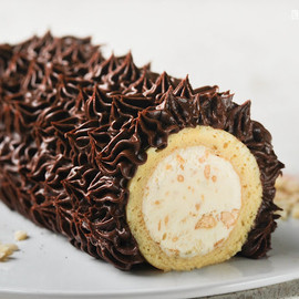 Biscuit roule and truffled chocolate cream