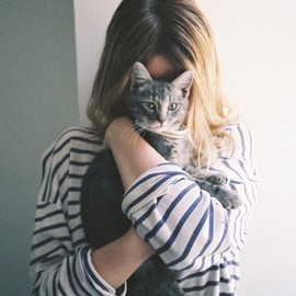girl - girl and cat