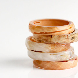 RosellaResin - birchbark size 8 thin multifaceted eco resin ring