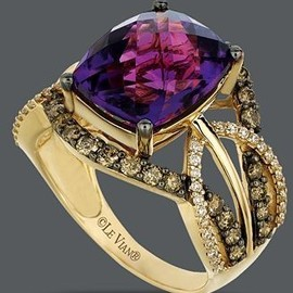 Le Vian - Le Vian 14k Gold Ring, Amethyst and White and Chocolate Diamond Ring – unique jewelry