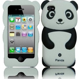 Panda - Black Panda Silicone Jelly Skin Case Cover for Apple Iphone 4G, 4, 4S and 4GS