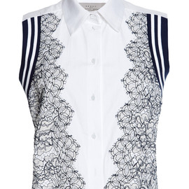PREEN BY THORNTON BREGAZZI - SS2015 Cotton Shirting And Lace Trevor Shirt In White And Navy