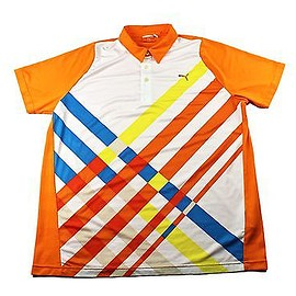PUMA - Puma Sport Lifestyle Orange Polo Shirt Mens Sportswear Streetwear Size Large
