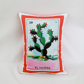 Nopal (Cactus) Loteria Pillow - Mexican Retro