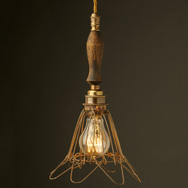 Edison Light Globes - Brass Trouble Light Cage Pendant wooden handle