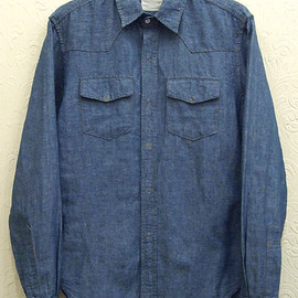 BAND OF OUTSIDERS - DENIM CHAMBRAY WESTERN SHIRT