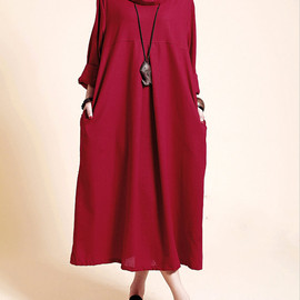 Winter Dress for Women, Women maternity Clothing, full-length Red dress