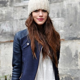 navy leather jacket / beanie