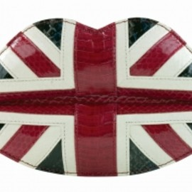 LULU GUINNESS - Union Jack Snakeskin Lips Clutch