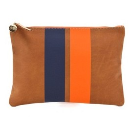 Clare Vivier - Stripe Clutch Bag (Brown/Navy/Orange)