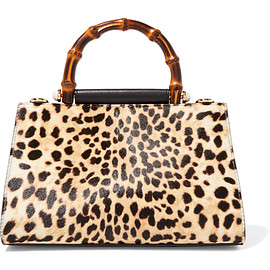 GUCCI - Nymphaea mini leopard-print calf hair and leather tote