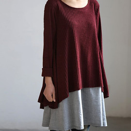 MaLieb - layered long dress dark red