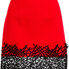 Christopher Kane - Red Cobweb Hem Wool Miniskirt