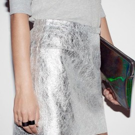 silver skirt and sweater