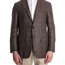Kiton - Brown Check Cashmere Silk and Linen Jacket