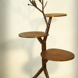 Leaf and vine half-round table