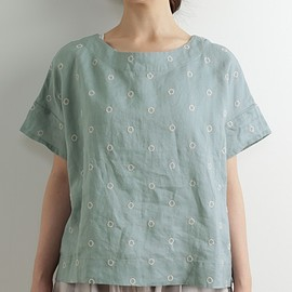 le ciel a temps doux - リングドット刺繍ブラウス
